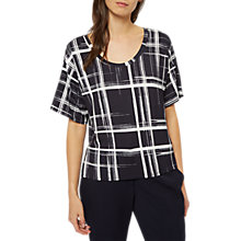 Buy Jaeger Graphic Check Jersey T-Shirt, Navy/Ivory Online at johnlewis.com