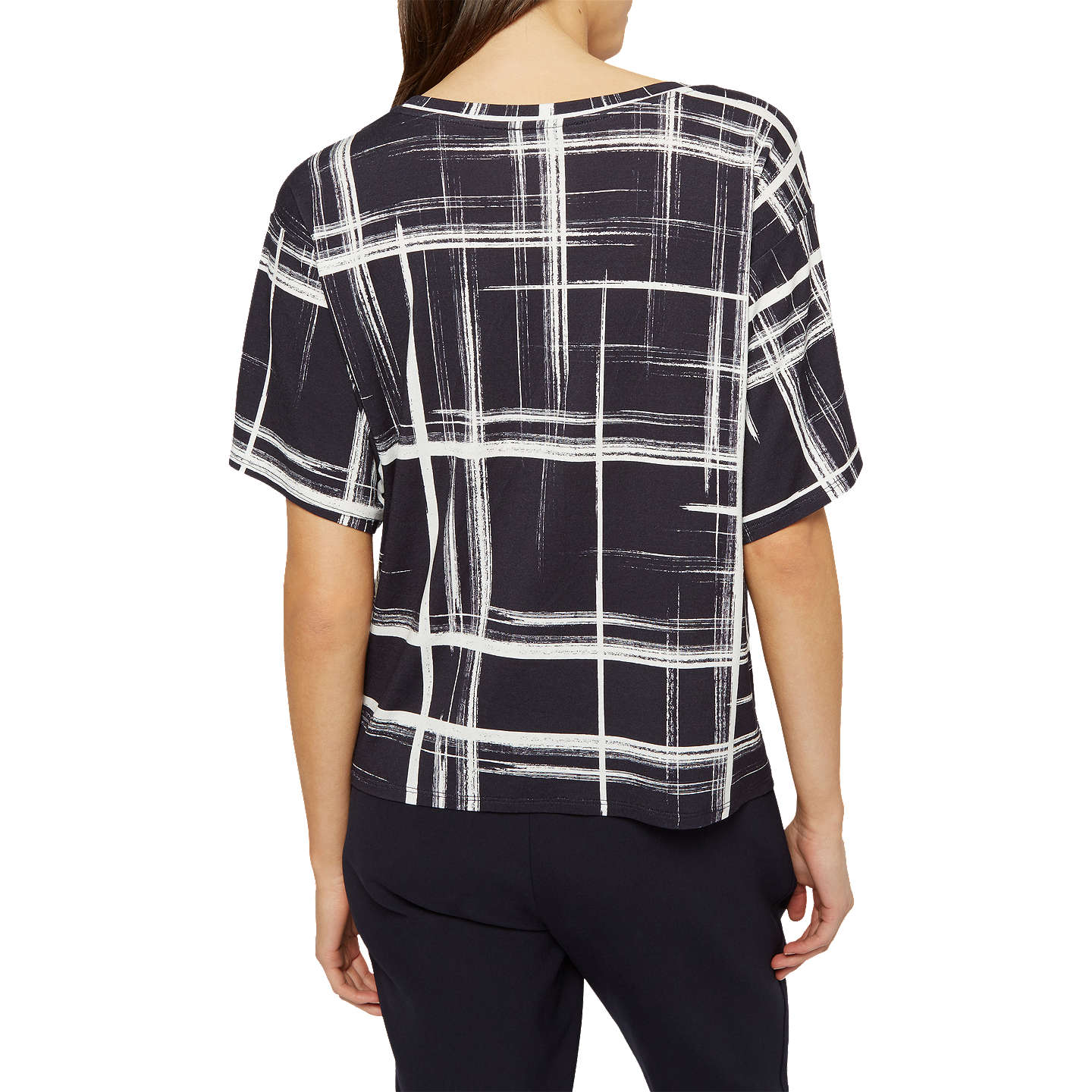 BuyJaeger Graphic Check Jersey T-Shirt, Navy/Ivory, XS Online at johnlewis.com