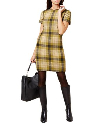 Hobbs Carr Check Dress, Green