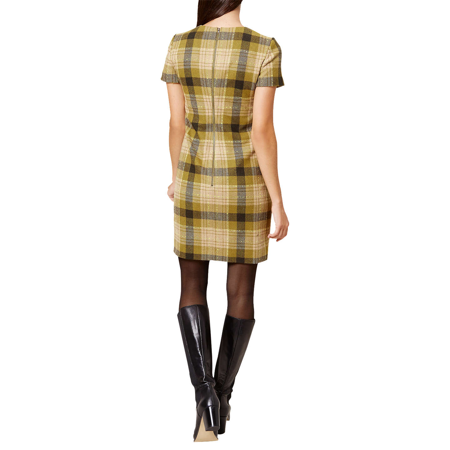 BuyHobbs Carr Check Dress, Olive Multi, 6 Online at johnlewis.com