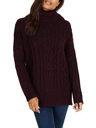 Phase Eight Carina Cable Knit Jumper, Sangria