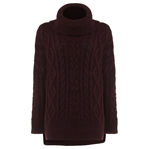 Buy Phase Eight Carina Cable Knit Jumper, Sangria Online at johnlewis.com