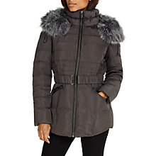 Buy Phase Eight Faux Fur Trim Paula Puffer Coat, Slate Online at johnlewis.com