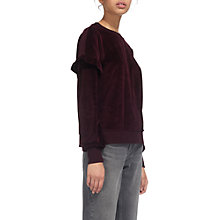 Buy Whistles Velour Frill Sleeve Sweatshirt, Burgundy Online at johnlewis.com