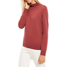 Buy Jaeger Zip Roll Neck Jumper, Wild Ginger Online at johnlewis.com