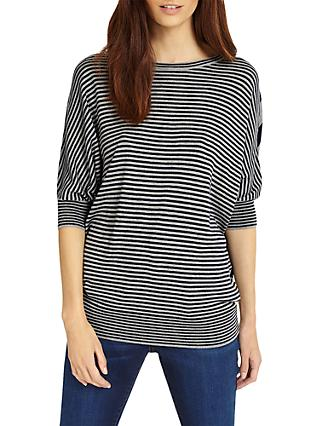 Phase Eight Becca Batwing Mixed Stripe Jumper, Navy/Grey