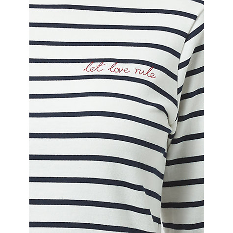 Buy Sugarhill Boutique Let Love Rule Brighton Breton Charity T-Shirt, Navy/White Online at johnlewis.com