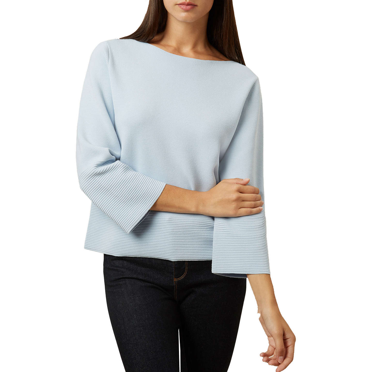 Hobbs Logan Boat Neck Flare Sleeve Jumper, Pale Blue at John Lewis