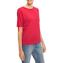 Buy Jaeger Tencel Jersey Gathered Shoulder Top, Bright Pink Online at johnlewis.com