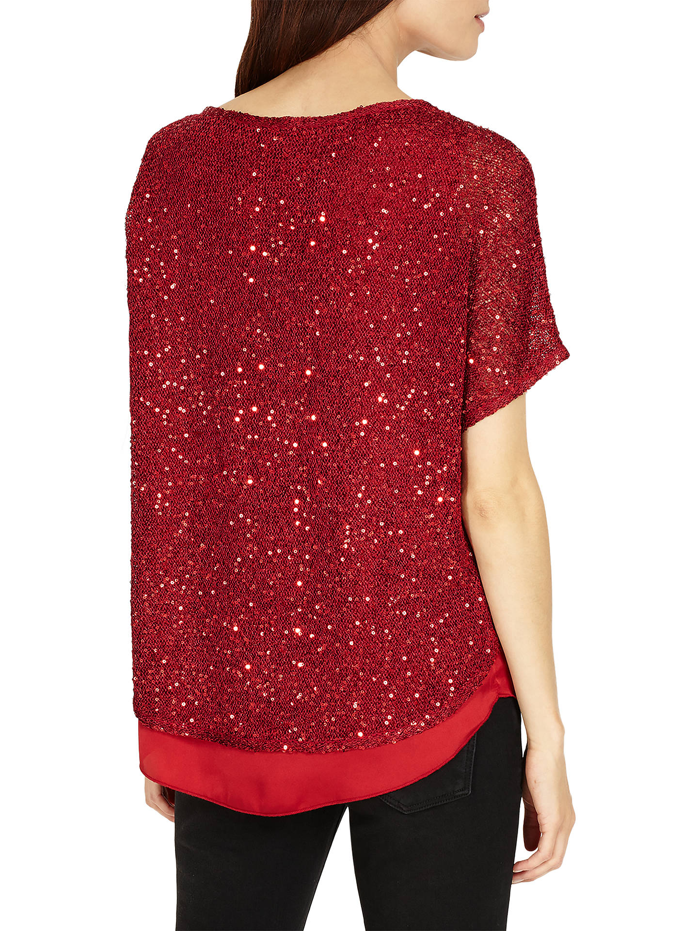 BuyPhase Eight Sequin Macey Knit Top, Ruby, XS Online at johnlewis.com