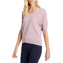 Buy Jaeger Cashmere V-Neck Short Sleeve Jumper, Pale Blush Online at johnlewis.com