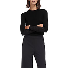 Buy Whistles Colour Block Cuff Jumper, Black Online at johnlewis.com