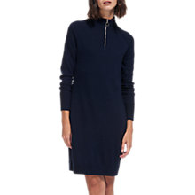 Buy Whistles Zip Front Funnel Neck Dress, Navy Online at johnlewis.com
