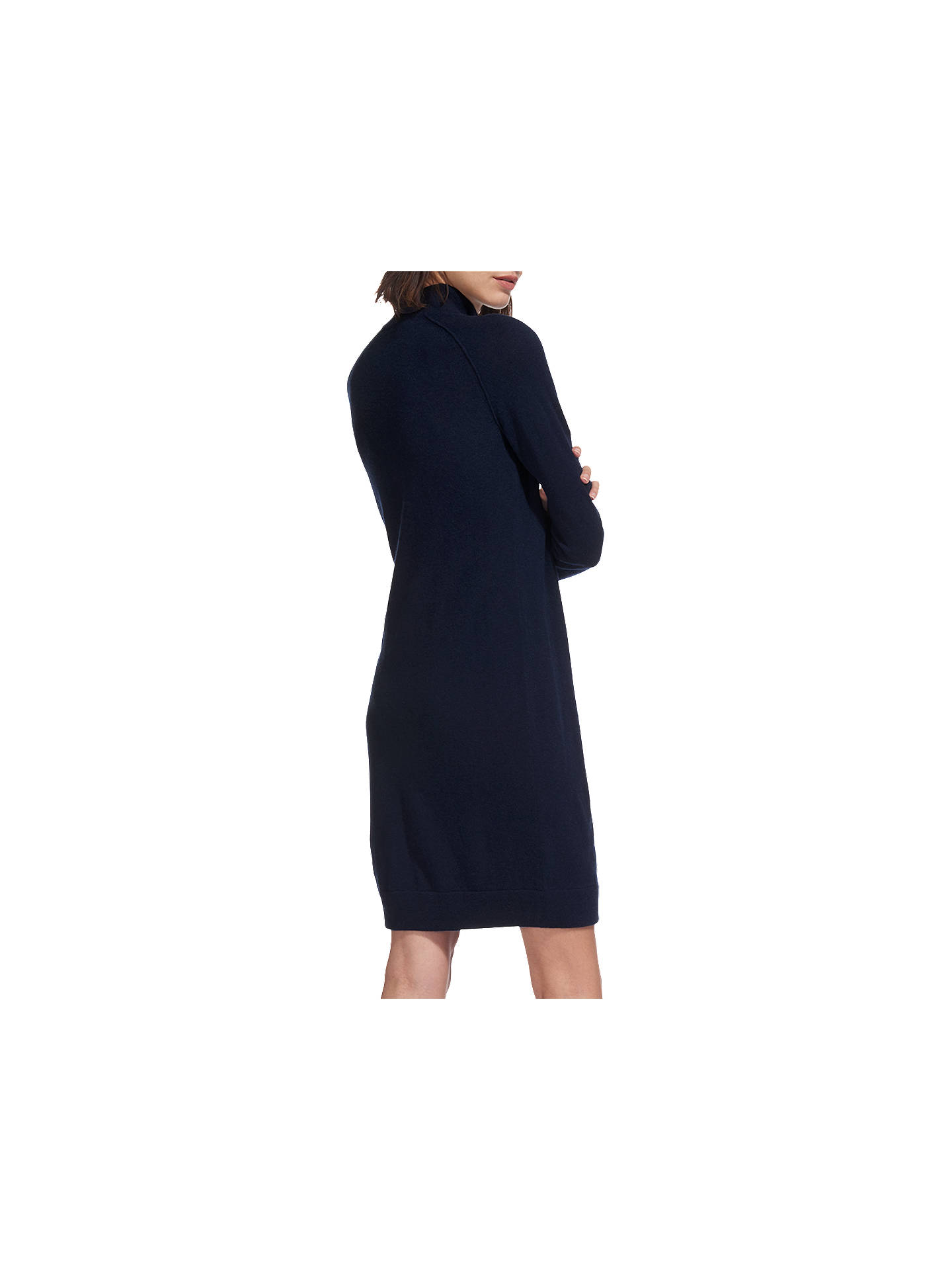 BuyWhistles Zip Front Funnel Neck Dress, Navy, XS Online at johnlewis.com