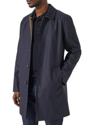 Jigsaw Italian Cotton Bonded Water Resistant Mac, Navy