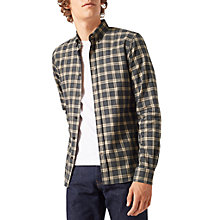 Buy Jigsaw Italian Flannel Check Shirt, Graphite Online at johnlewis.com