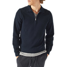 Buy Jigsaw Half Zip Pique Sweatshirt, Navy Online at johnlewis.com