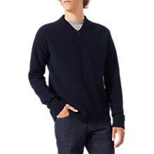 Buy Jigsaw Lambswool Waffle Knitted Jumper, Navy Online at johnlewis.com