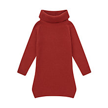 Buy Jigsaw Girls' Ribbed Cowl Neck Dress, Red Online at johnlewis.com