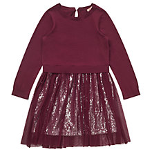 Buy Jigsaw Girls' Sequinned 2-in-1 Dress, Berry Online at johnlewis.com