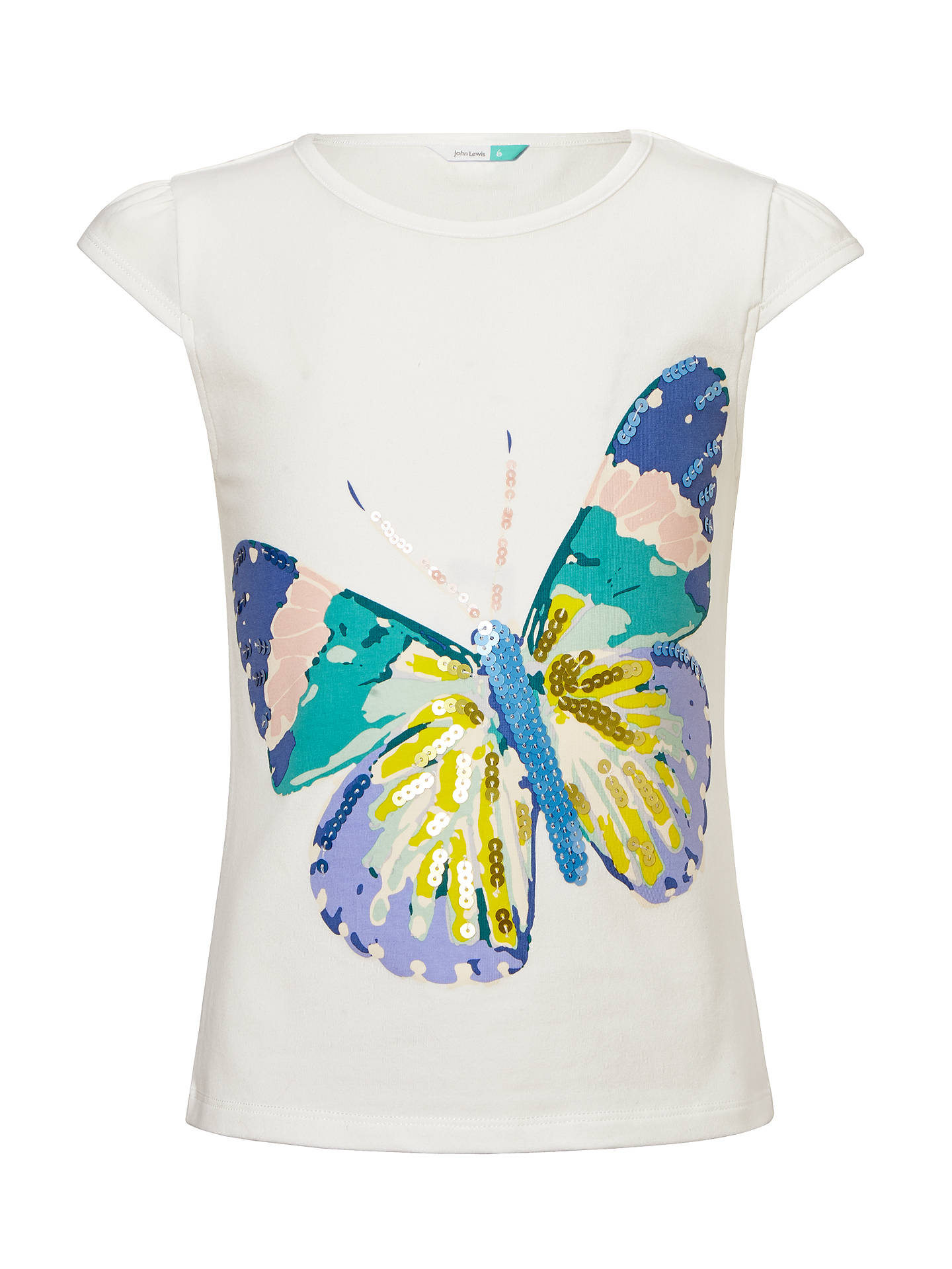 be828337 Buy John Lewis Girls' Butterfly Sequin T-Shirt, Cream, 2 years Online ...