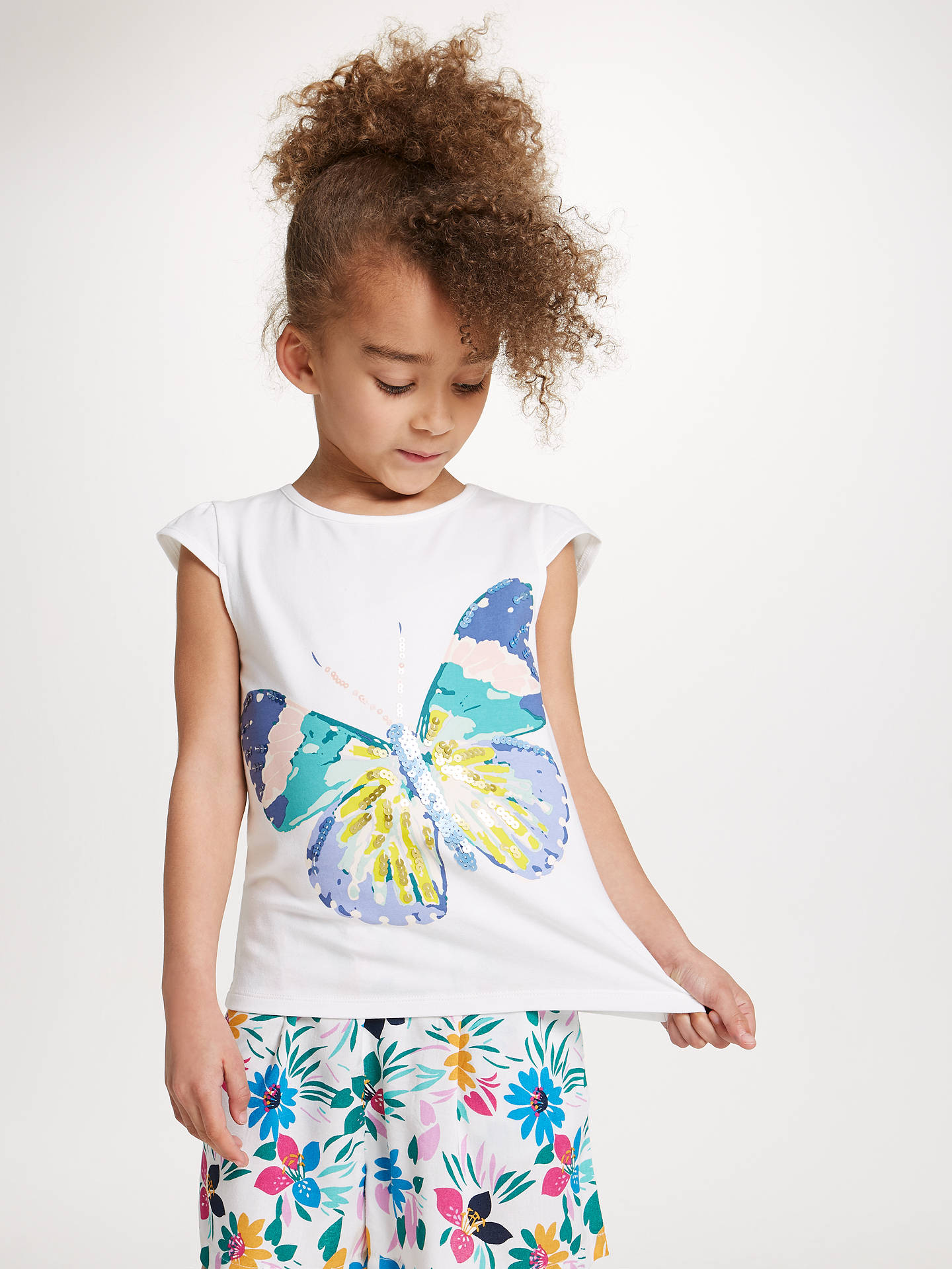 29b39636 ... Buy John Lewis Girls' Butterfly Sequin T-Shirt, Cream, 2 years Online  ...