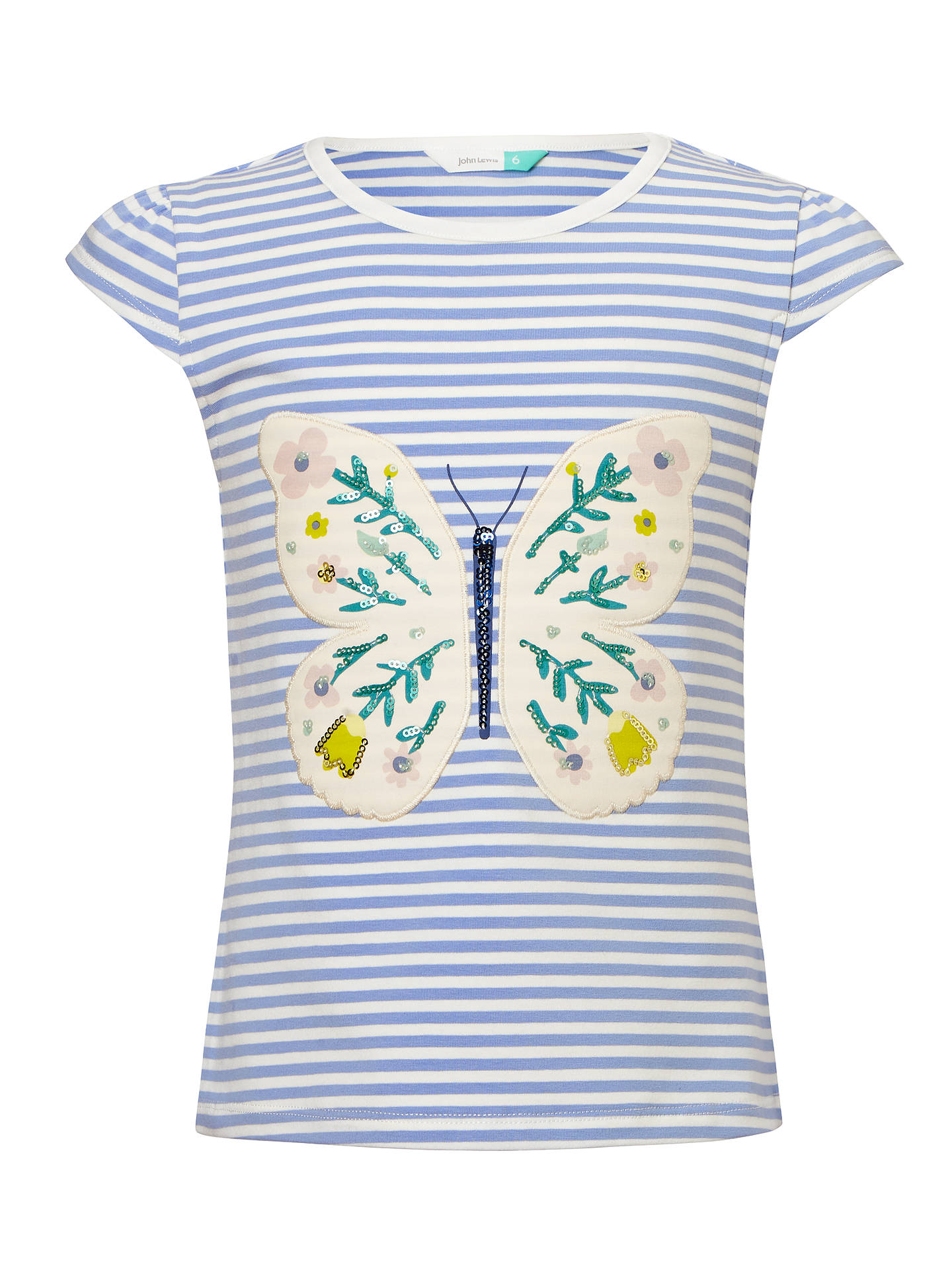 f0d77270 Buy John Lewis Girls' Stripe Butterfly Sequin T-Shirt, Multi, 2 years ...