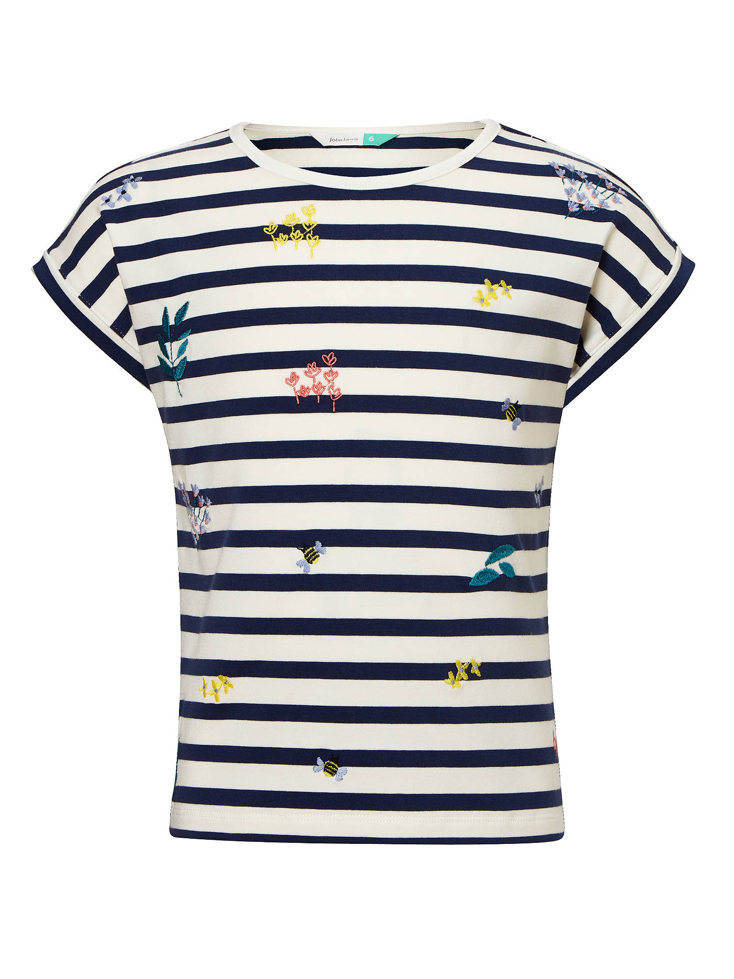 280563324d5 Buy John Lewis   Partners Girls  Stripe Embroidered T-Shirt