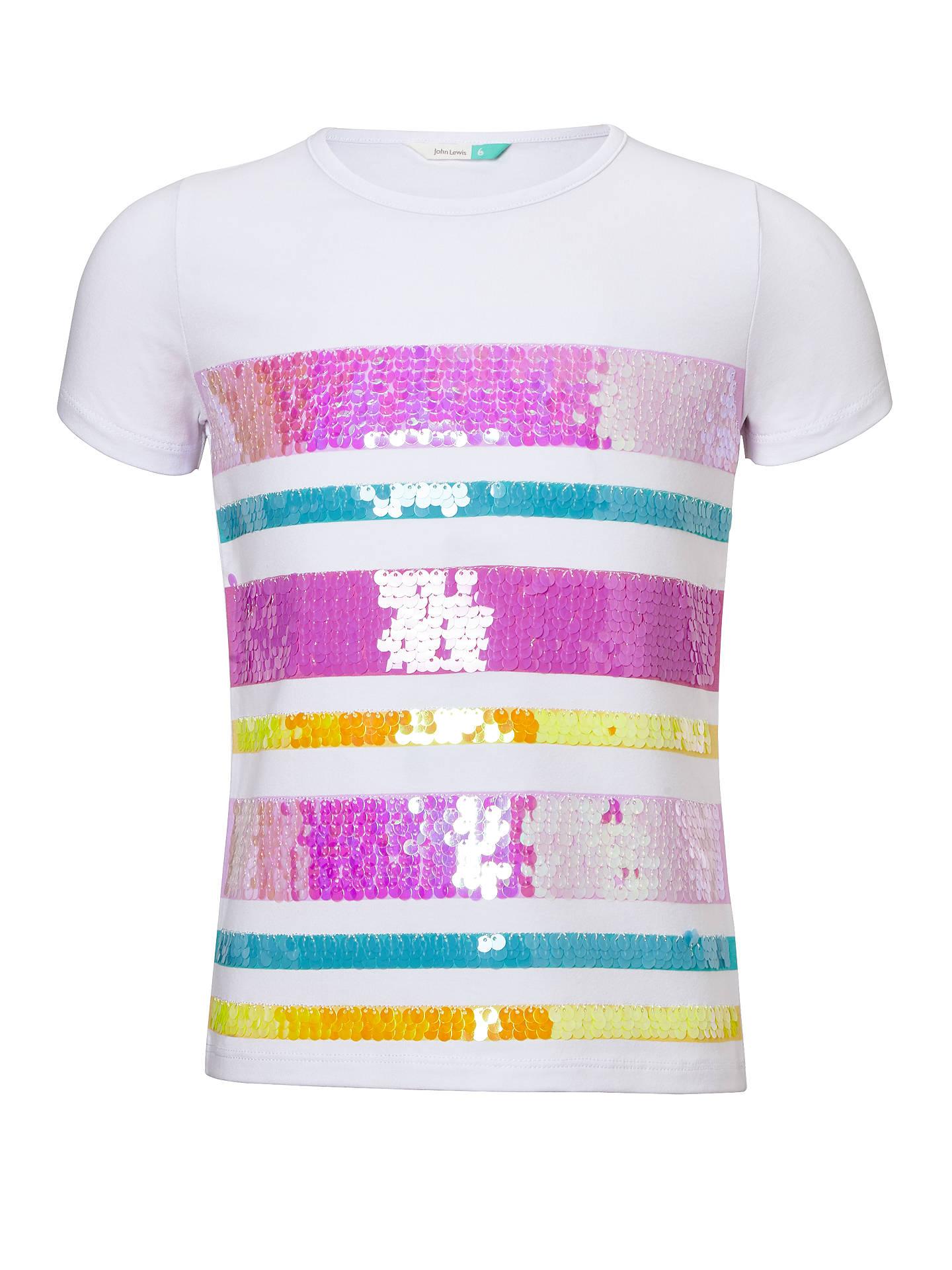 8164c8d043 John Lewis & Partners Girls' Sequin Stripe T-Shirt, White at John ...