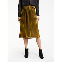 Buy Great Plains Pia Pleating Skirt, Metallic Cinder Gold Online at johnlewis.com
