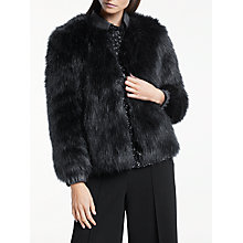 Buy Great Plains Florrie Faux Fur Jacket, Classic Navy Online at johnlewis.com