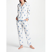 Buy Cyberjammies Lara Floral Print Pyjama Set, White/Blue Online at johnlewis.com