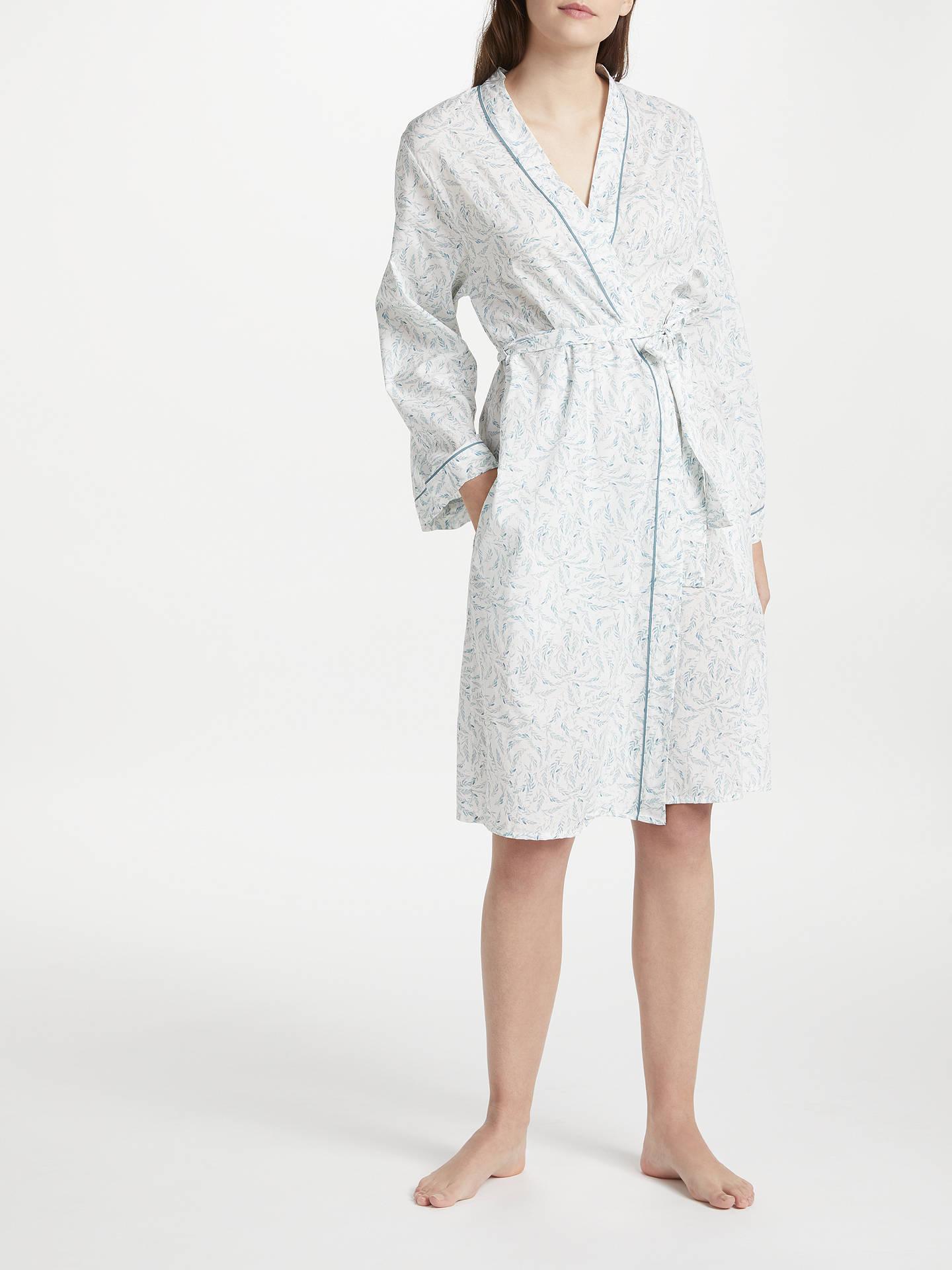 Cyberjammies Grace Leaf Print Dressing Gown, White/Green at John ...