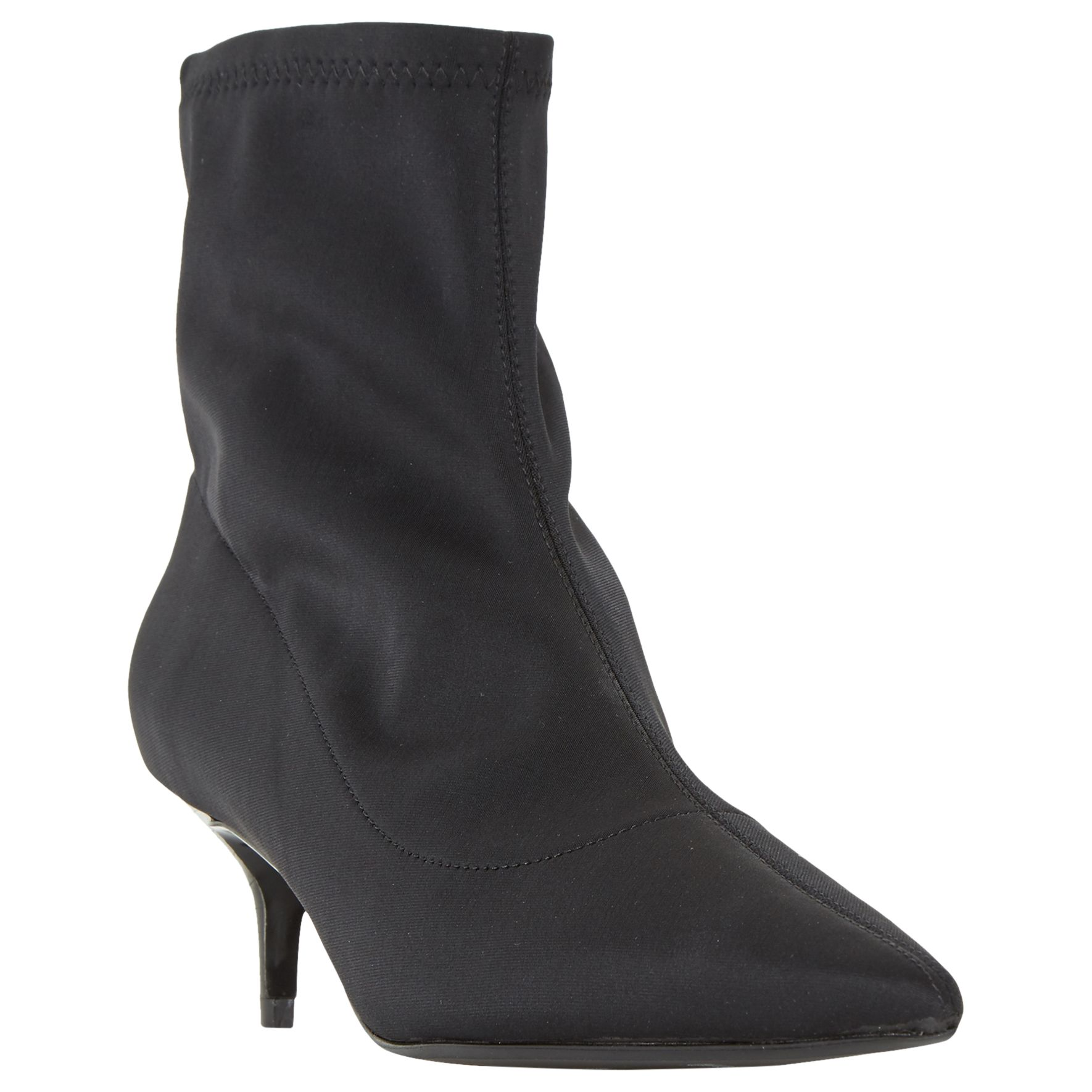 cef66ae478ad6 Dune Opelli Kitten Heel Stretch Sock Ankle Boots, Black at John Lewis &  Partners