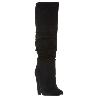 Steve Madden Carrie Ruched Knee High Boots, Black Suede