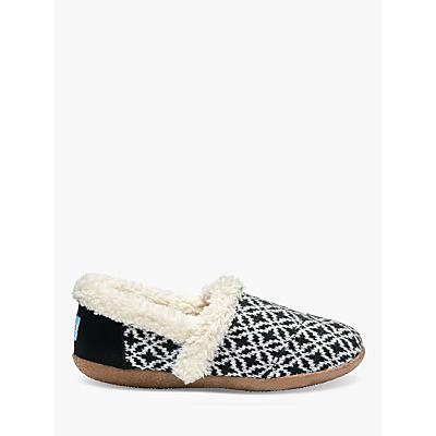 TOMS Fair Isle Slippers, Black/White