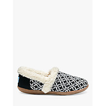 Buy TOMS Fair Isle Slippers, Black/White Online at johnlewis.com