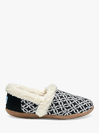 TOMS Fair Isle Slippers, Black/White