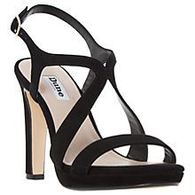 Buy Dune Maya Cross Strap Block Heeled Sandals, Black Suede Online at johnlewis.com