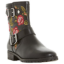 Buy Dune Riva Embroidered Biker Boots, Black Online at johnlewis.com
