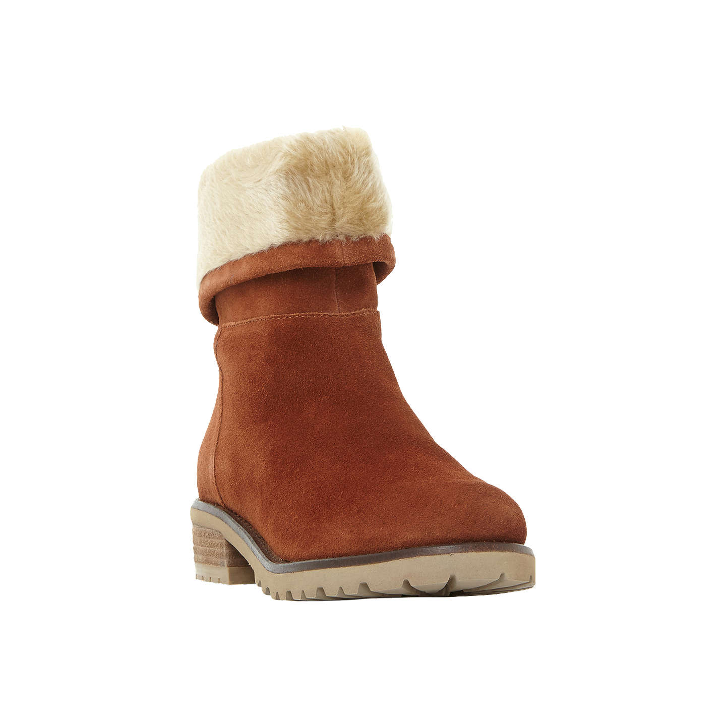 BuySteve Madden Driller Faux Fur Cuff Ankle Boots, Tan Suede, 3 Online at  johnlewis ...