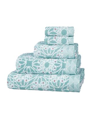 John Lewis & Partners Fusion Kasmanda Cotton Towels, Blue Opal