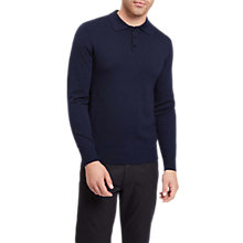 Buy Jaeger Knit Long Sleeve Polo Shirt, Navy Online at johnlewis.com