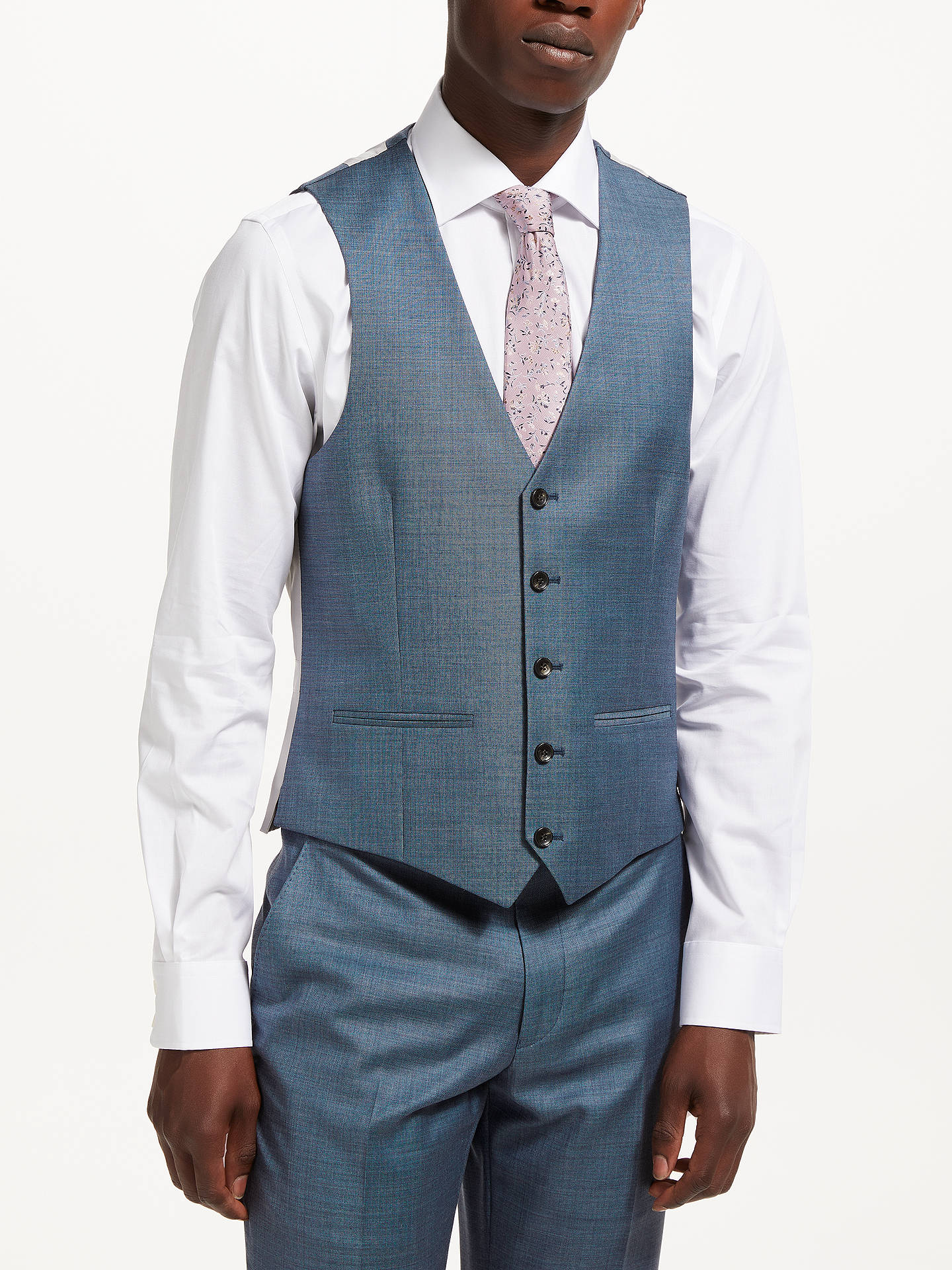 a56192ccb Buy John Lewis & Partners Woven in Italy Super 130s Wool Sharkskin  Waistcoat, Steel Blue ...