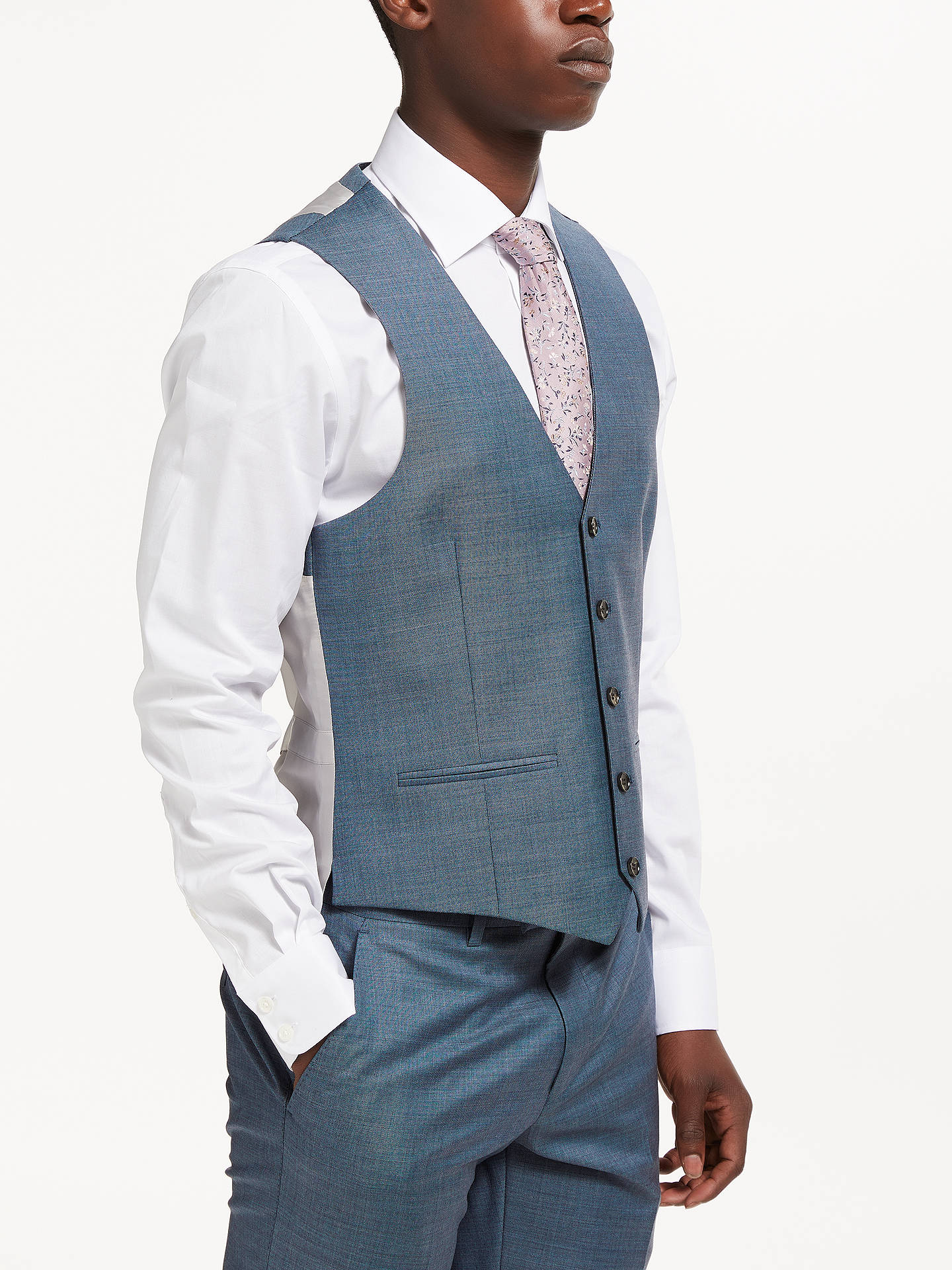 4e707b767 ... Buy John Lewis & Partners Woven in Italy Super 130s Wool Sharkskin  Waistcoat, Steel Blue