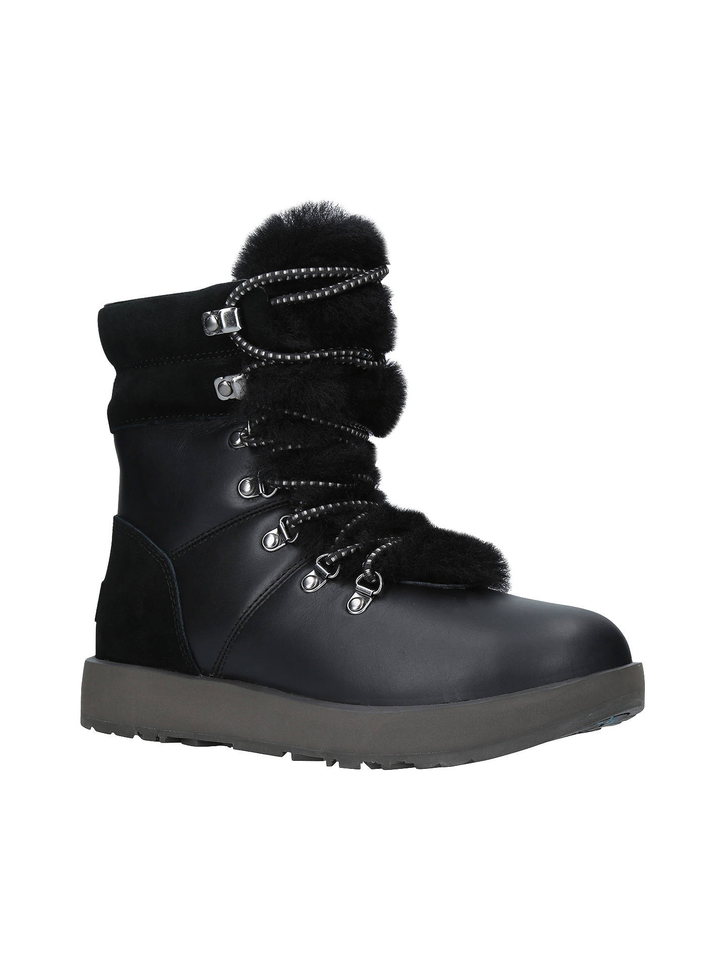 UGG Viki Waterproof Ankle Boots, Black Leather at John Lewis