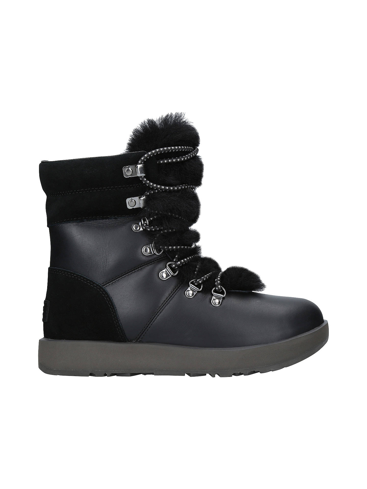 f5469914603 UGG Viki Waterproof Ankle Boots, Black Leather at John Lewis & Partners