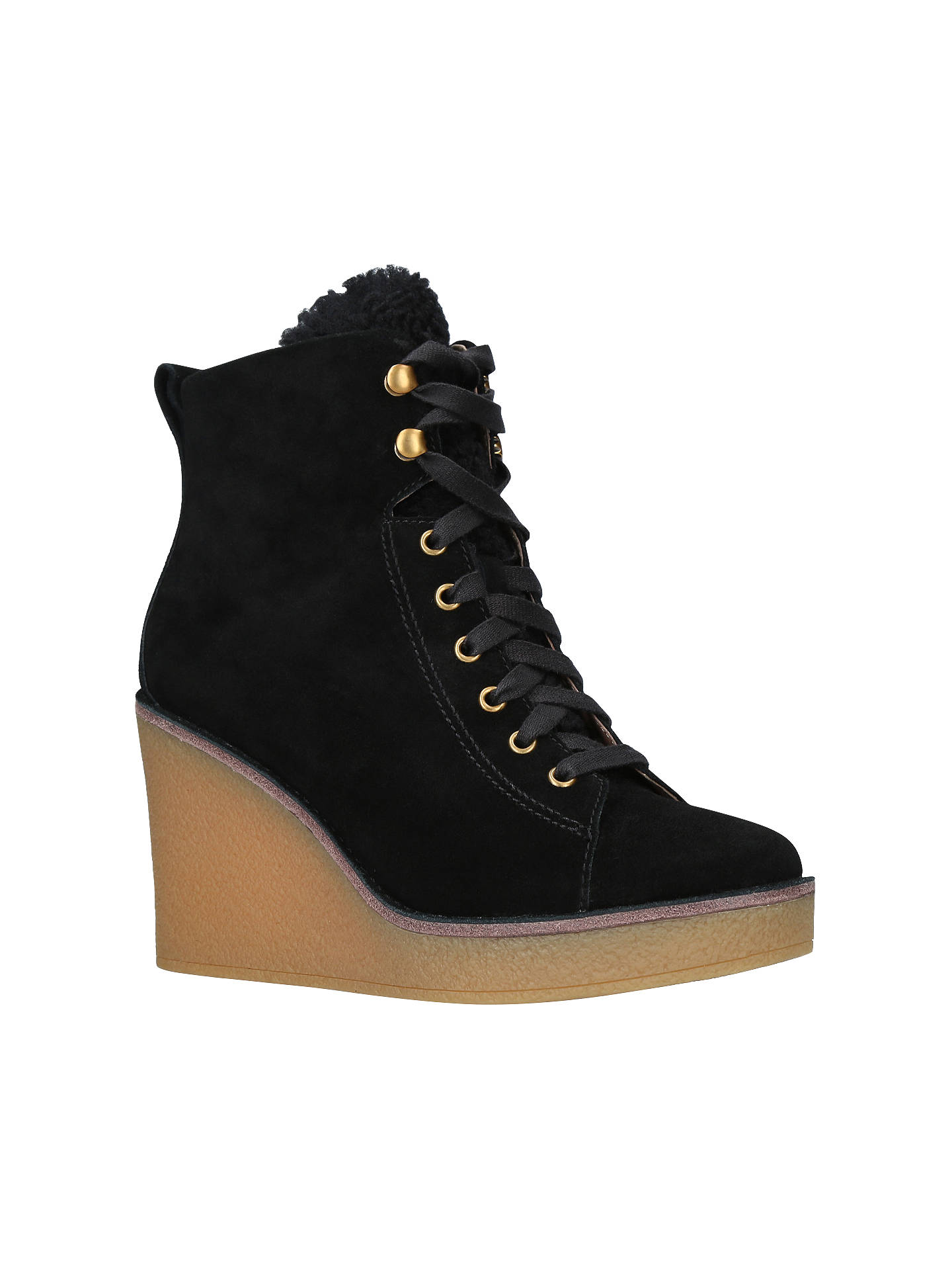 BuyUGG Kiernan Wedge Heel Ankle Boots, Black Suede, 3 Online at johnlewis.com