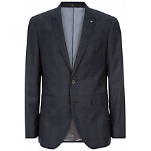 Buy Jaeger Wool Glen Check Slim Fit Jacket, Navy Online at johnlewis.com