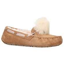 Buy UGG Dakota Moccasin Pom Sheepskin Slippers, Brown Online at johnlewis.com
